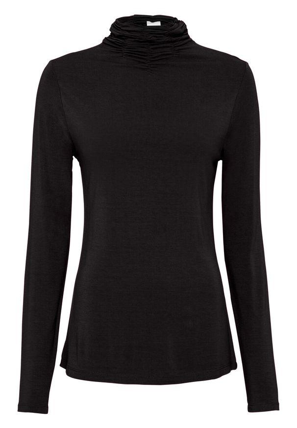 Czarna bluzka bonprix z długim rękawem, z golfem, długa