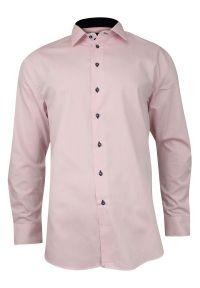 Różowa elegancka koszula Rey Jay do pracy, długa