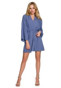 MOE - Krótka Kimonowa Sukienka z Paskiem - Niebieska. Kolor: niebieski. Materiał: len, poliester. Długość: mini