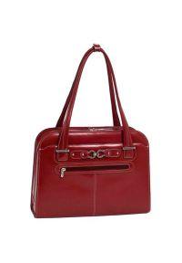 Torba na laptopa MCKLEIN Oak Grove 15.6 cali Czerwony. Kolor: czerwony. Materiał: skóra. Styl: klasyczny, casual