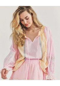 LOVE SHACK FANCY - Kolorowa bluzka Odina. Kolor: wielokolorowy, różowy, fioletowy. Materiał: bawełna, jeans. Długość rękawa: długi rękaw. Długość: długie. Wzór: kolorowy. Styl: klasyczny