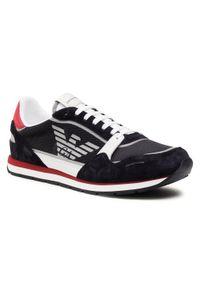 Emporio Armani - Sneakersy EMPORIO ARMANI - X4X537 XM678 N495 Unv/Navy/Op.Wht/Bor. Kolor: czarny. Materiał: materiał, zamsz. Szerokość cholewki: normalna. Styl: klasyczny