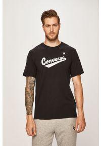 Czarny t-shirt Converse z okrągłym kołnierzem, na co dzień, z nadrukiem, casualowy