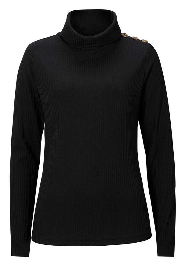 Czarna bluzka bonprix w prążki, z golfem