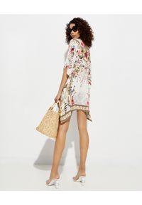 Camilla - CAMILLA - Jedwabna tunika mini. Kolor: biały. Materiał: jedwab. Wzór: kwiaty, aplikacja. Długość: mini