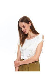 Biały t-shirt TOP SECRET krótki, casualowy