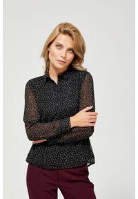 MOODO - Koszula w drobny wzór. Materiał: poliester. Długość rękawa: długi rękaw. Długość: długie. Wzór: grochy