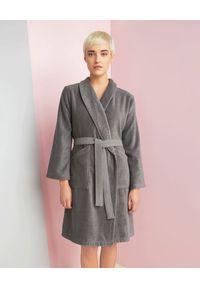 KENZO HOME - Szlafrok Iconic z bawełny. Kolor: szary. Materiał: bawełna. Wzór: haft