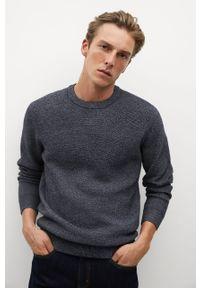 Niebieski sweter Mango Man z okrągłym kołnierzem, casualowy