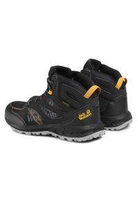 Jack Wolfskin - Trekkingi JACK WOLFSKIN - Woodland Texapore Mid K 4042151 D Black/Burly Yellow XT. Kolor: czarny. Materiał: skóra ekologiczna, materiał, skóra