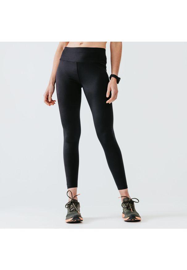 KALENJI - Legginsy do biegania damskie Kalenji Run Support. Kolor: czarny. Materiał: poliester, materiał, elastan. Sport: bieganie
