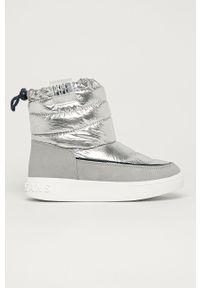 Srebrne buty zimowe Pepe Jeans z cholewką, na zimę, z okrągłym noskiem