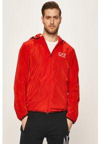 Czerwona kurtka EA7 Emporio Armani casualowa, na co dzień, z kapturem