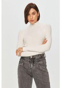 Biały sweter Answear Lab wakacyjny, długi, z długim rękawem