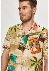 Oliwkowa koszula Desigual z krótkim rękawem, krótka, z klasycznym kołnierzykiem, na co dzień