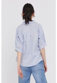 medicine - Medicine - Koszula Essential. Okazja: na co dzień. Kolor: niebieski. Materiał: tkanina. Długość rękawa: krótki rękaw. Długość: krótkie. Wzór: gładki. Styl: casual