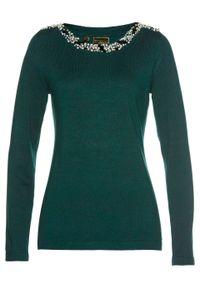 Zielony sweter bonprix z aplikacjami