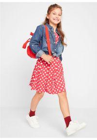 Sukienka dziewczęca shirtowa w groszki bonprix czerwono-biały w groszki. Kolor: czerwony. Wzór: grochy #6