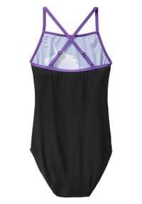 Kostium kąpielowy dziewczęcy bonprix czarny z nadrukiem. Kolor: czarny. Wzór: nadruk