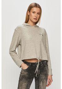 Szara bluza Calvin Klein Underwear z nadrukiem, z kapturem
