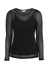 Freequent Bluzka w prążki na podszewce Sia Czarny female czarny S (38). Kolor: czarny. Materiał: jersey. Długość rękawa: na ramiączkach. Długość: długie. Wzór: prążki