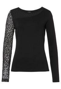 Shirt z koronką bonprix czarny. Kolor: czarny. Materiał: koronka. Wzór: koronka