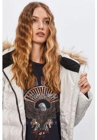 Srebrny płaszcz ANSWEAR z kapturem, raglanowy rękaw