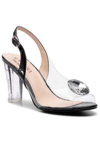 Czarne sandały Sca'viola z aplikacjami, na średnim obcasie