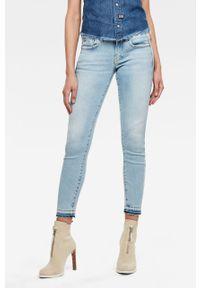 Niebieskie jeansy G-Star RAW z podwyższonym stanem, w kolorowe wzory