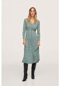 mango - Mango - Sukienka Linus. Kolor: zielony. Materiał: włókno. Długość rękawa: długi rękaw. Typ sukienki: rozkloszowane