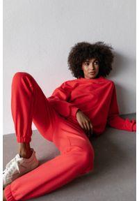 Marsala - Spodnie dresowe typu jogger w kolorze STRAWBERRY RED - DISPLAY BY MARSALA. Stan: podwyższony. Materiał: dresówka. Styl: klasyczny, elegancki