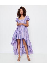 ICON - Asymetryczna sukienka z tafty Bona. Typ kołnierza: dekolt kwadratowy. Kolor: różowy, wielokolorowy, fioletowy. Typ sukienki: asymetryczne
