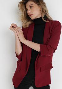 Born2be - Bordowa Marynarka Alexithise. Okazja: na co dzień. Kolor: czerwony. Materiał: jeans. Wzór: aplikacja. Styl: sportowy, klasyczny, casual #4