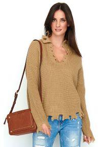 Brązowy sweter oversize Makadamia casualowy, na co dzień