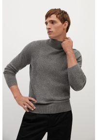 Szary sweter Mango Man casualowy, długi, z golfem, na co dzień