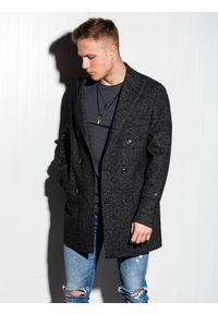 Ombre Clothing - Płaszcz męski oversize C429 - czarny - XL. Kolor: czarny. Materiał: wiskoza, poliester. Sezon: wiosna. Styl: elegancki