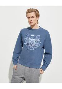 Kenzo - KENZO - Niebieska bluza z tygrysem. Kolor: niebieski. Materiał: prążkowany, bawełna. Długość rękawa: długi rękaw. Długość: długie. Wzór: haft, aplikacja. Styl: klasyczny, sportowy