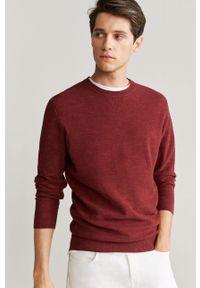Czerwony sweter Mango Man z okrągłym kołnierzem