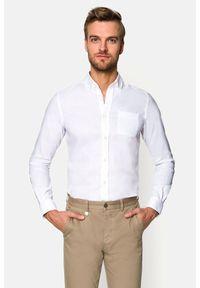 Lancerto - Koszula Biała Astrid 2. Typ kołnierza: button down. Kolor: biały. Materiał: bawełna, len, tkanina, włókno. Długość: krótkie. Wzór: gładki. Sezon: lato. Styl: sportowy