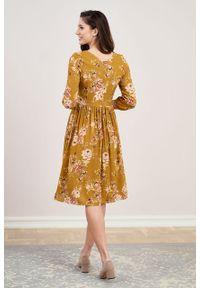 Marie Zélie - Sukienka Hypatia Irsina ochra. Kolor: pomarańczowy. Materiał: bawełna, wiskoza, tkanina, materiał