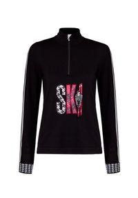 Czarny sweter Newland z aplikacjami, z golfem