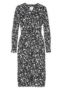 Sukienka szmizjerka bonprix czarno-biały z nadrukiem. Kolor: czarny. Wzór: nadruk. Typ sukienki: szmizjerki