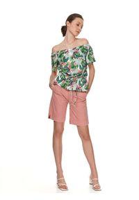 TOP SECRET - Kolorowa bluzka z odkrytymi ramionami i wiązaniem. Materiał: dzianina. Długość rękawa: krótki rękaw. Długość: krótkie. Wzór: kolorowy. Sezon: lato. Styl: wakacyjny