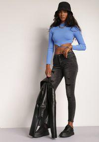 Renee - Czarne Jeansy Skinny Kalireia. Kolor: czarny. Wzór: aplikacja