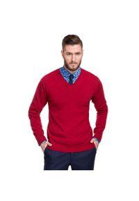 Czerwony sweter Giacomo Conti w kolorowe wzory, z dekoltem w kształcie v