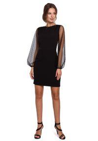 e-margeritka - Sukienka z tiulowymi rękawami - l. Materiał: tiul. Typ sukienki: dopasowane. Styl: elegancki. Długość: mini