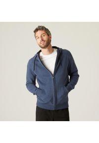 DOMYOS - Bluza na zamek z kapturem fitness. Typ kołnierza: kaptur. Kolor: czarny, wielokolorowy, niebieski. Materiał: tkanina, włókno, bawełna, materiał. Sport: fitness