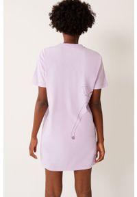 Undiz - Koszula nocna ROCKBAMBIZ. Kolor: fioletowy. Materiał: bawełna, dzianina. Długość: krótkie. Wzór: nadruk