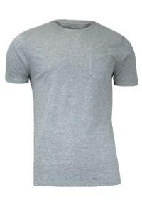 Szary T-Shirt (Koszulka) z Kieszonką, Bez Nadruku - Brave Soul, Męski. Okazja: na co dzień. Kolor: szary. Materiał: bawełna. Sezon: wiosna, lato. Styl: casual