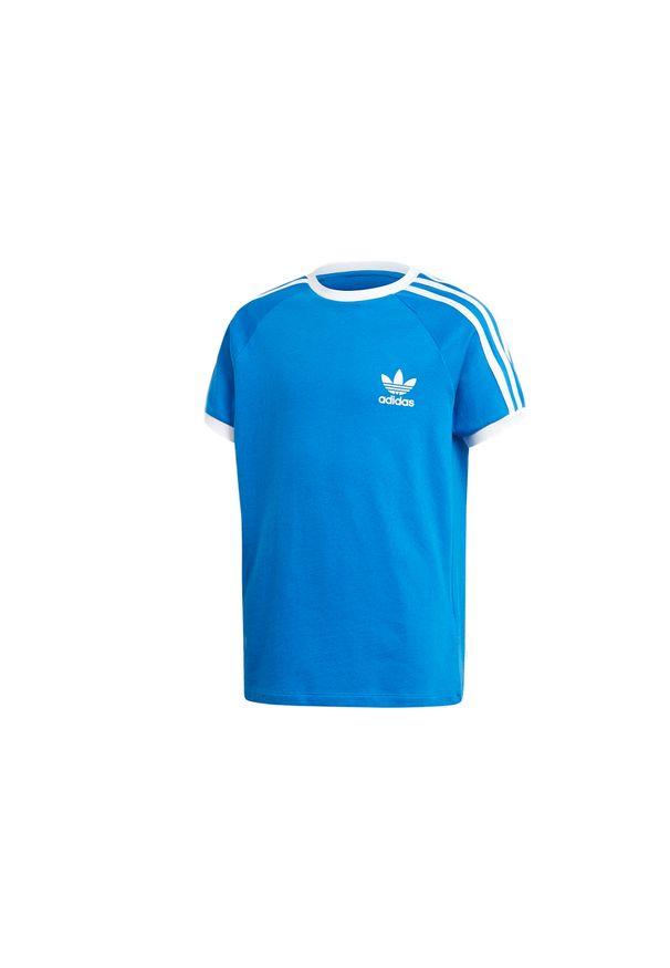Niebieski t-shirt Adidas w kolorowe wzory
